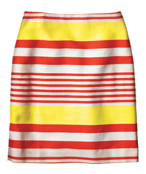 Ann Taylor yellow and red striped cotton skirt