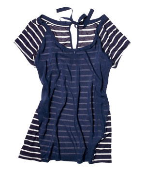 LC Lauren Conrad striped rayon-and-polyester top