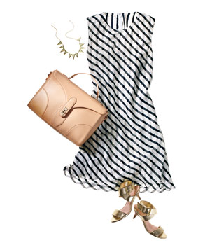 Striped dress with neutral bag, gold shoes, necklace