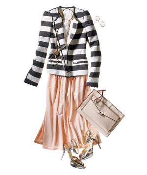 Striped jacket, long skirt, silver shoes, accessories