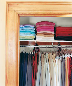 Organized color-coded closet