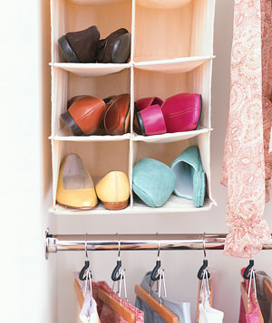 Shoes in a hanging shoe rack