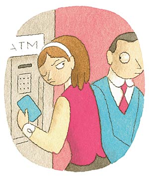Illustration of a woman at the ATM looking mad at a man in a suit