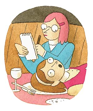 Illustration of a  woman at a restaurant lying on a dinner plate talking to her therapist