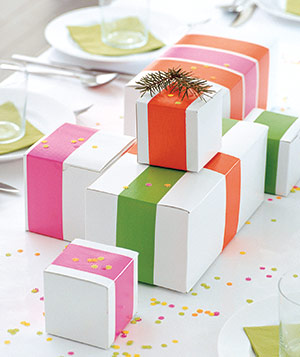 White boxes plus colored tape equals instant wrapping.