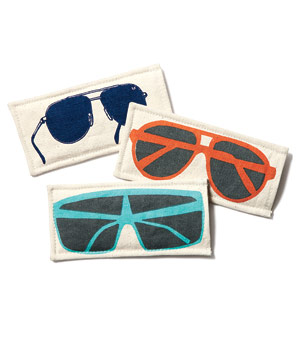 Cloth sunglasses cases with images of sunglasses on them