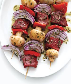 Marinated meat and vegetable kebabs