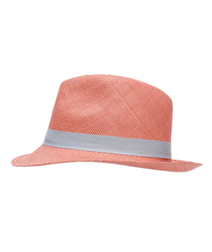 Hat Attack Ribbon Trim Straw Fedora: Coral