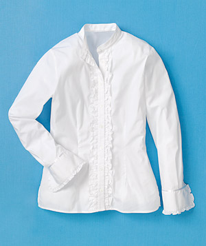 White banded-collar blouse