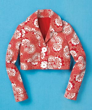 Red and white floral cropped jacket