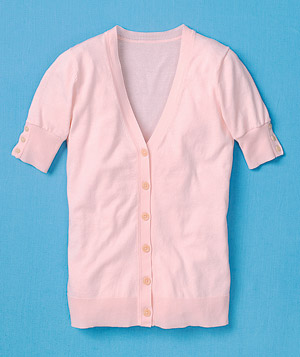 Pink short-sleeve sweater