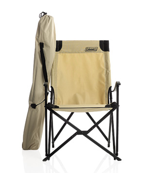 Khaki-colored high-backed sling chair