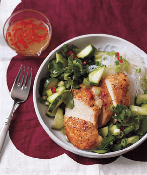 Chicken and Noodle Salad with Chili Dressing