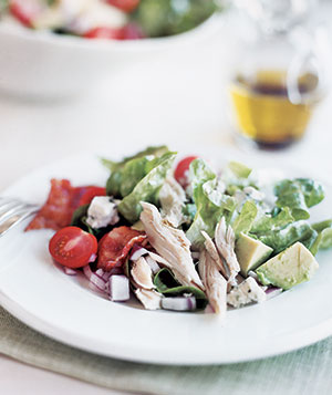 A traditional Cobb salad, made even easier by using rotisserie chicken.