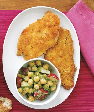 Chicken Cutlets With Chickpea and Pesto Salad