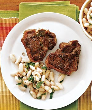Seared Lamb With White Bean and Mint Salad