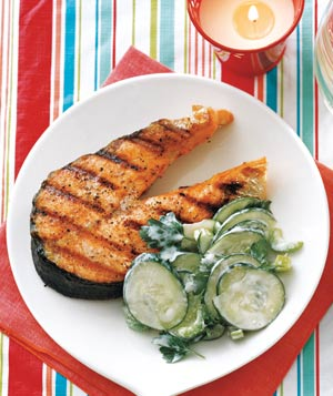 Grilled Salmon With Cucumber and Celery Salad