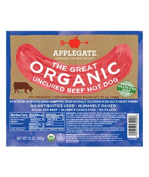 Applegate Farms Organic Uncured beef hot dogs