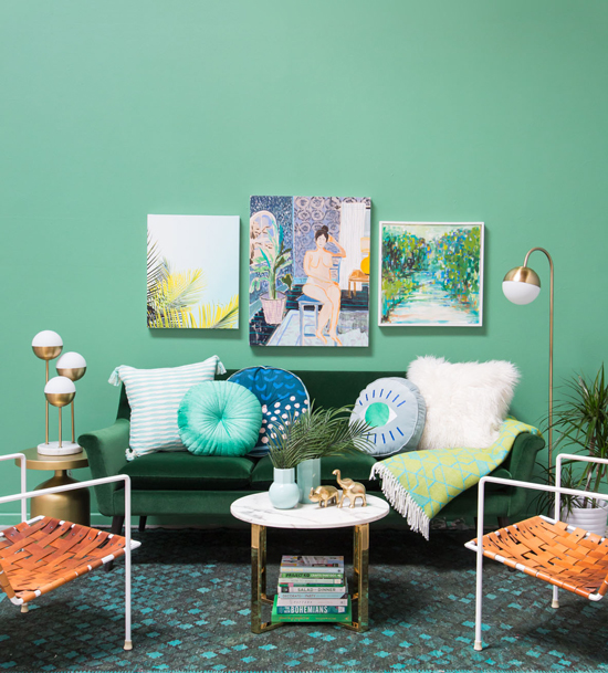 Joy Cho Green Living Room