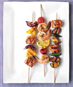 Kebabs on a white plate