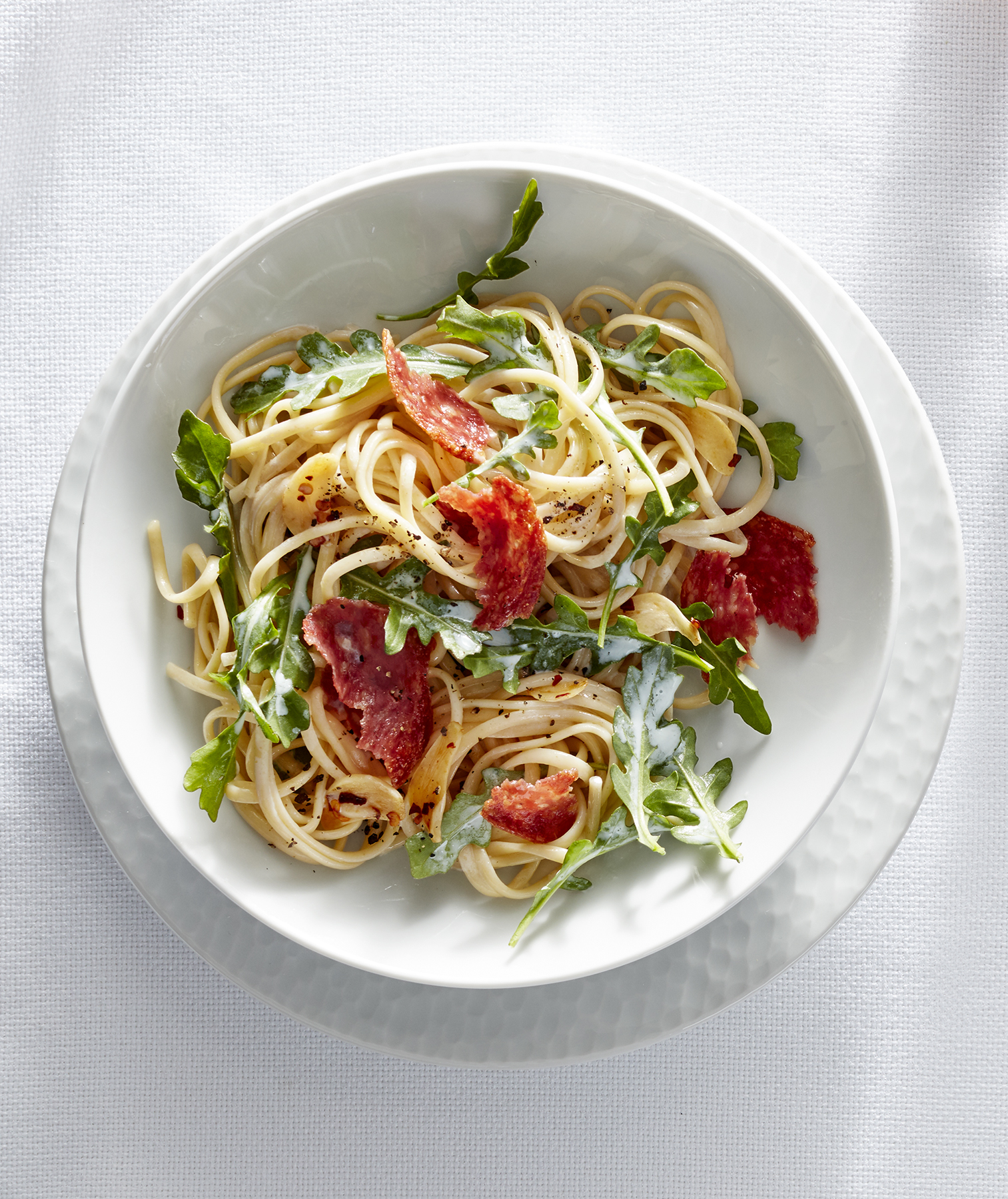 Linguine With Garlic, Soppressata, and Wilted Arugula