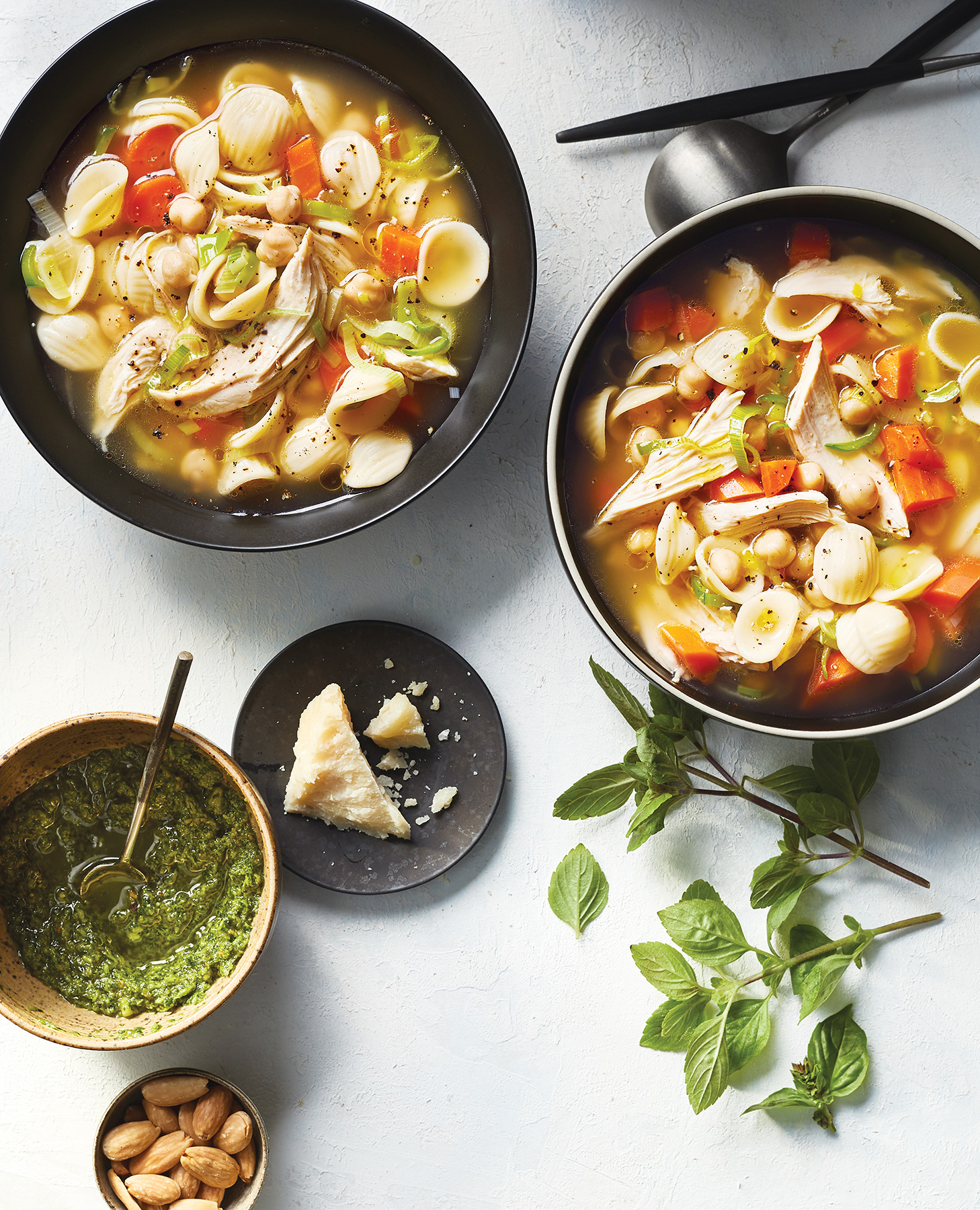 Pasta, Chickpea, and Chicken Soup With Pesto