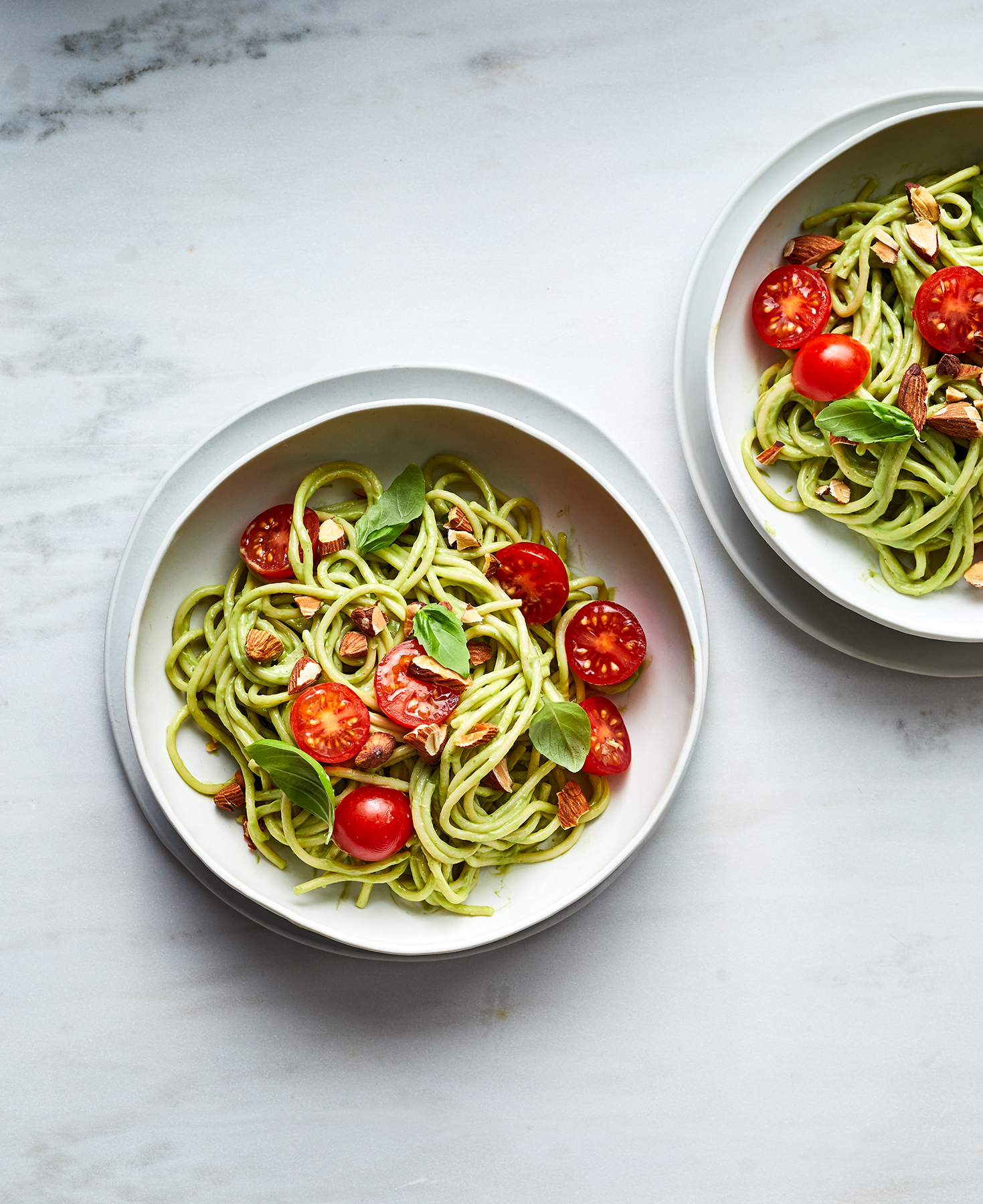 Spaghetti Salad With Avocado and Basil