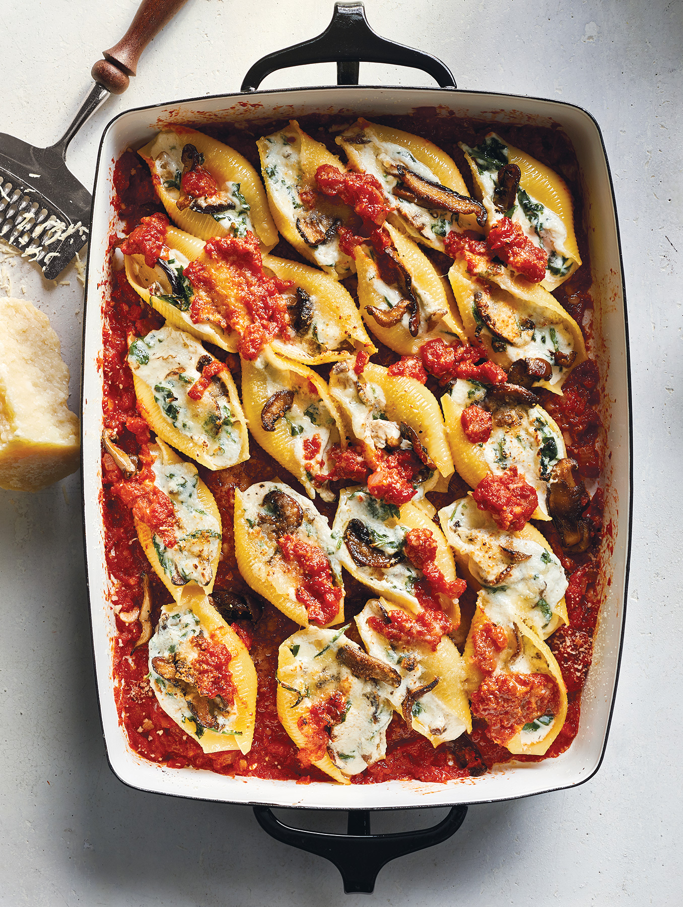 Wild Mushroom and Spinach Stuffed Shells