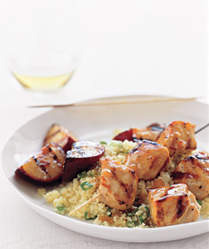 Pork Kebabs With Grilled Plums and Couscous