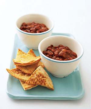 Pita scoops with chili