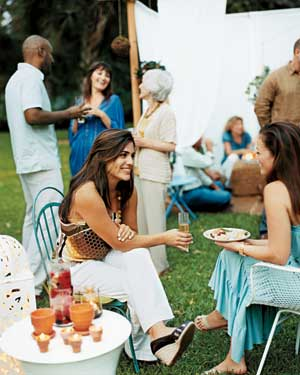 People enjoying an outdoor party