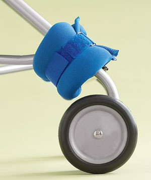 Ankle weight on a stroller wheel