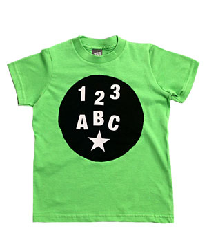 T-shirt with detachable letters, numbers, and symbols