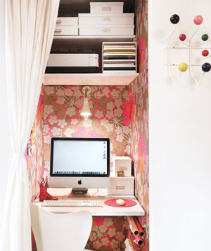 Closet transformed into a home office