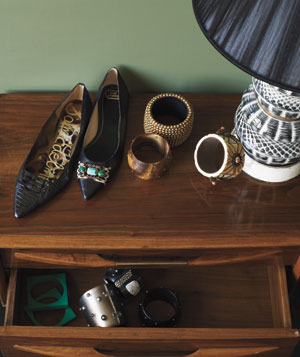 Pointy-toe flats and bold bangles