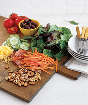 Variety of vegetables on a cutting board