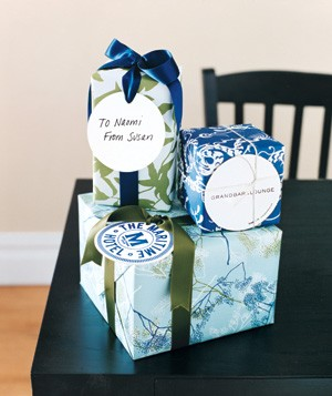 Coasters used as gift tags