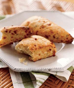 Try these on a cold winter Sunday: red pepper–flaked scones made with buttermilk and Swiss cheese.