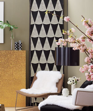 Black and white triangle pattern wallpaper panel