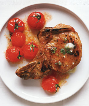 Grilled Pork Chops and Cherry Tomatoes