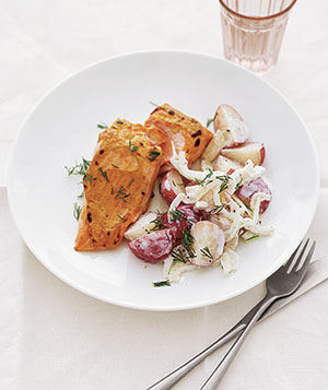 Mustard-Broiled Salmon With New Potato Salad