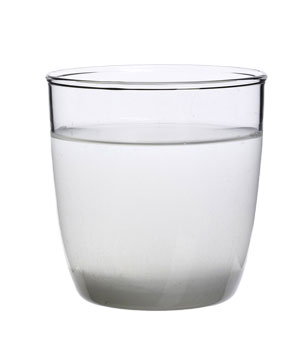 Glass of warm salt water