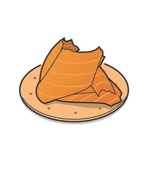 Illustration of smoked salmon on a plate