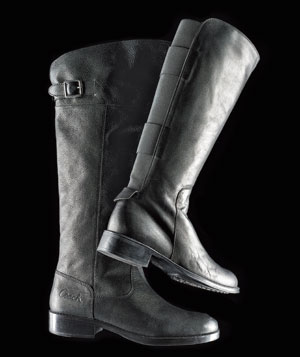 Black riding boots from Coach and Aquatalia by Marvin K.