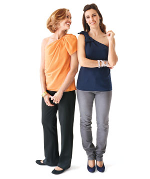 Mother and daughter in one-shoulder tops