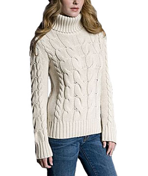 Cotton Cable Turtleneck by White and Warren