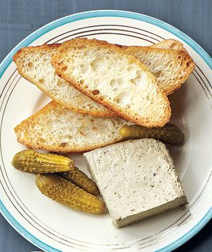 Pate WIth Cornichons and Sliced Baguette