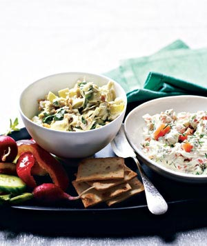 Artichoke and Spinach Relish and Creamy Salmon Spread