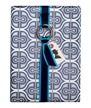 Gift wrapped in blue and white paper with a ribbon tied onto a loop