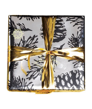 Gift wrapped in silver pinecone paper